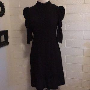TOPSHOP Lace-Up Back Black Dress Size 6